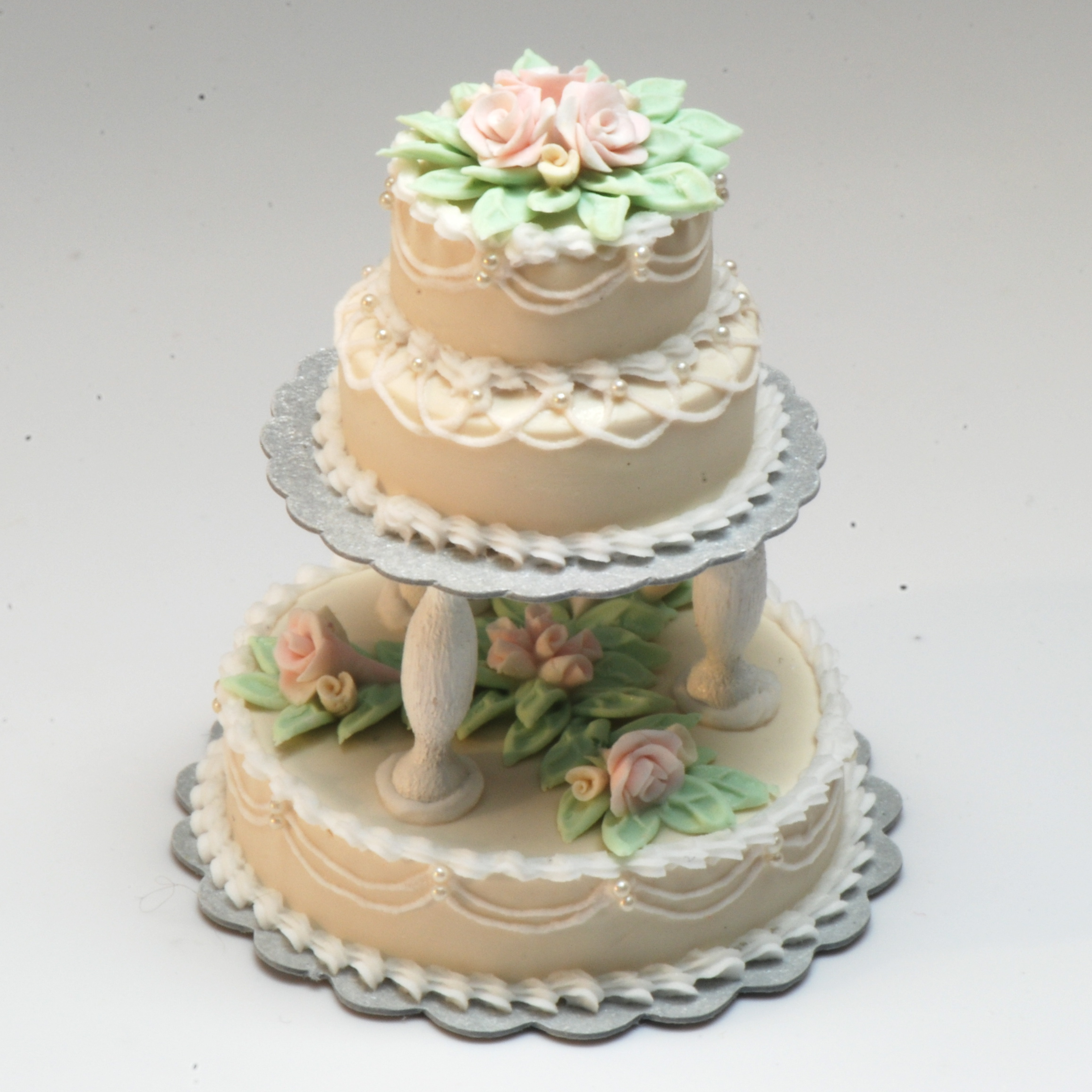 Ecru 3 Tier Wedding Cake Wpink Roses Stewart Dollhouse Creations - 3 Tier Wedding Cakes