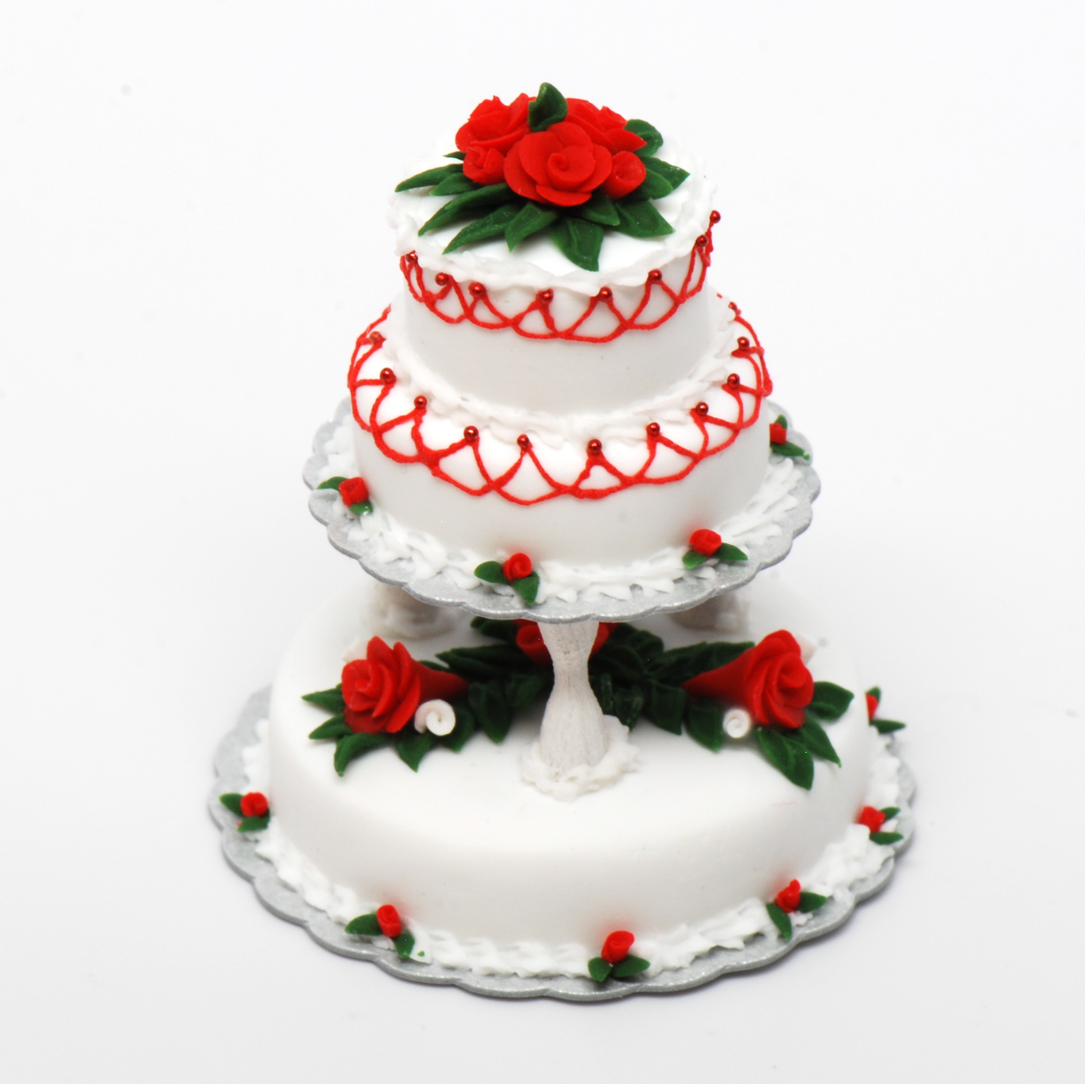 3 Tier Christmas Wedding Cake Stewart Dollhouse Creations