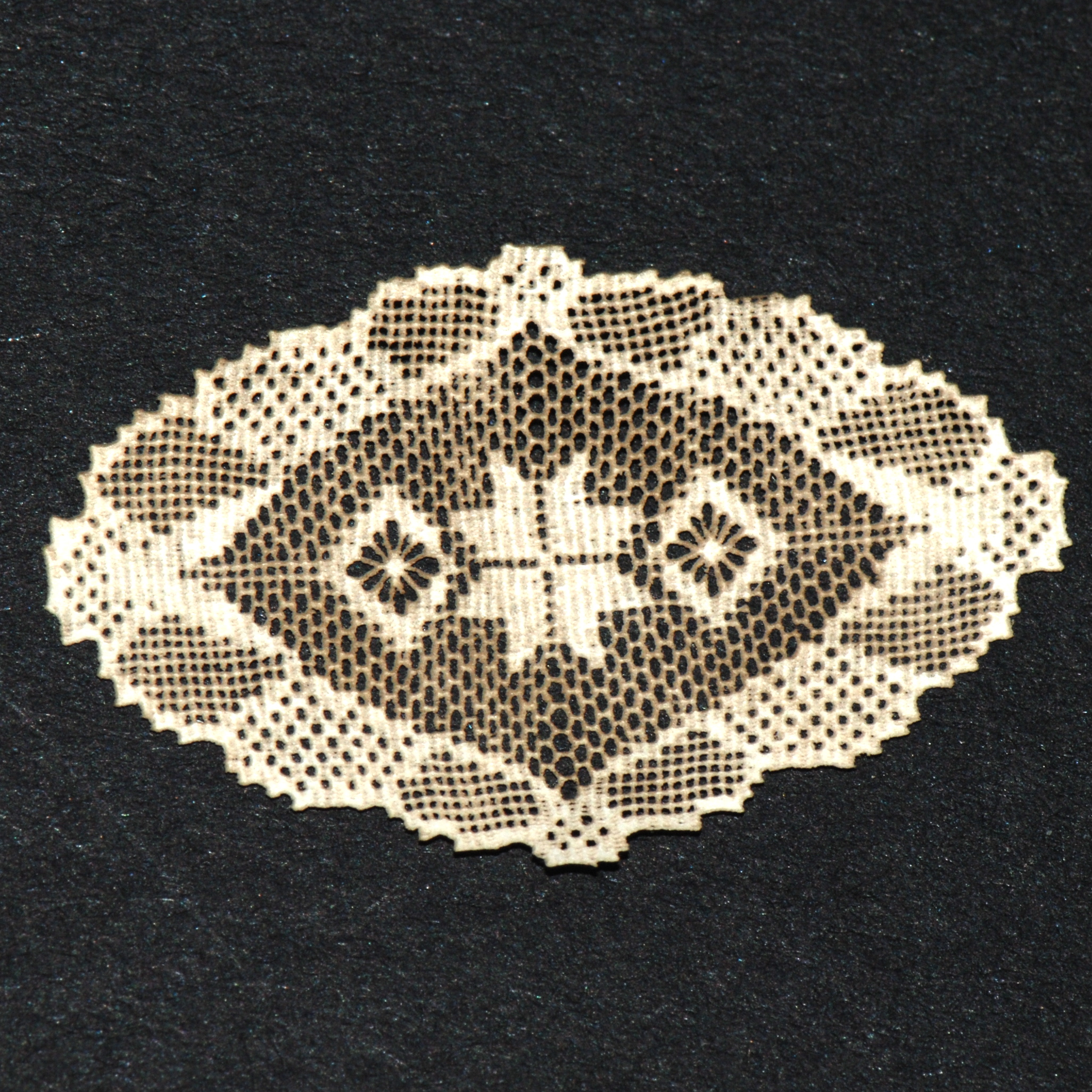 oval antique laser cut doily  106