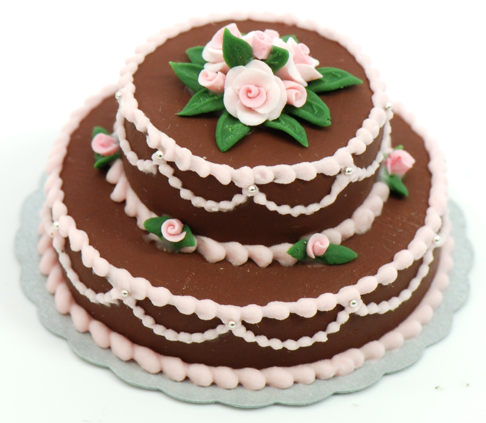 Minature Double Layer Chocolate Cake w/pink roses | Stewart Dollhouse ...