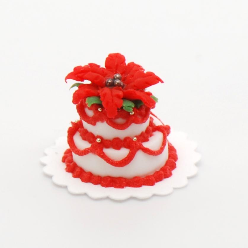 2 Tier Poinsettia Christmas Cake Stewart Dollhouse Creations