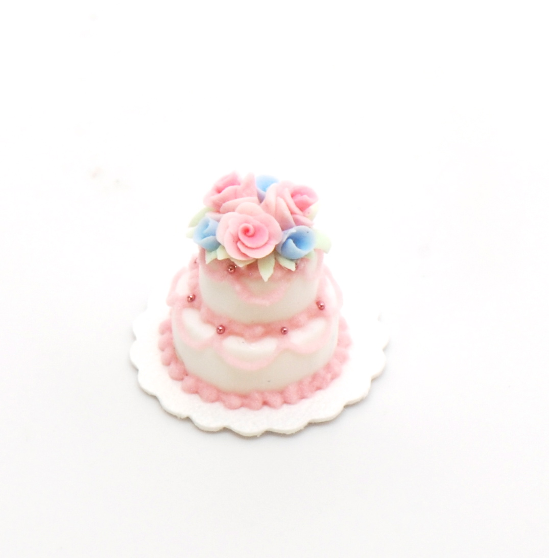 1:48 Scale Double Tier Pink Wedding Cake | Stewart Dollhouse Creations