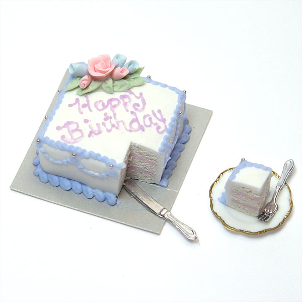 Minature Happy Birthday Square Sheet Cake W Blue Amp Pink