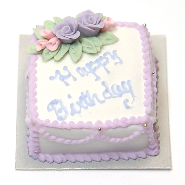 Rectangle Purple Birthday Cake