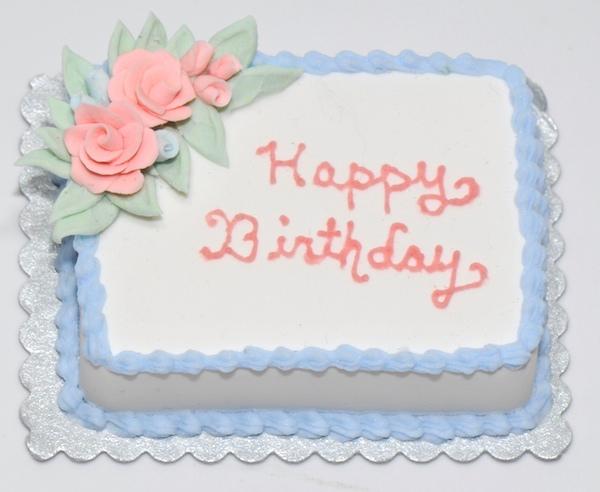 Blue Happy Birthday Cake wPink Roses Stewart Dollhouse Creations