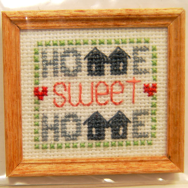 Framed Home Sweet Home CrossStitch  Stewart Dollhouse Creations
