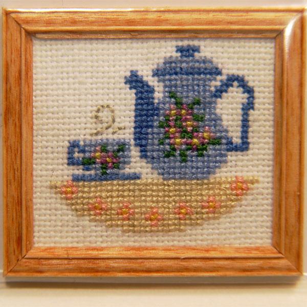 Framed Tea Pot w/cup Cross-Stitch