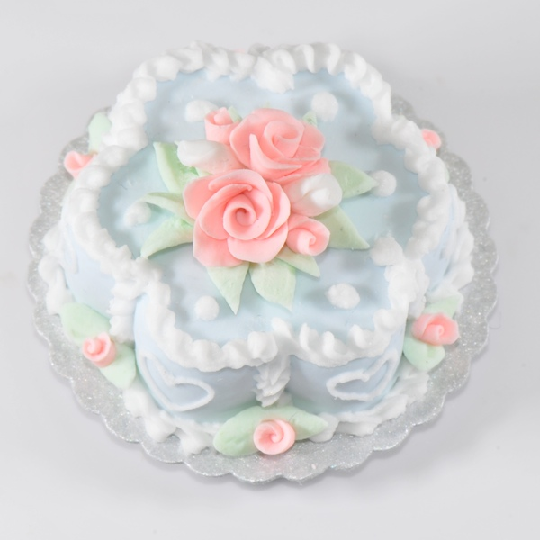 Blue Flower Cake W White Hearts And Pink Roses Stewart