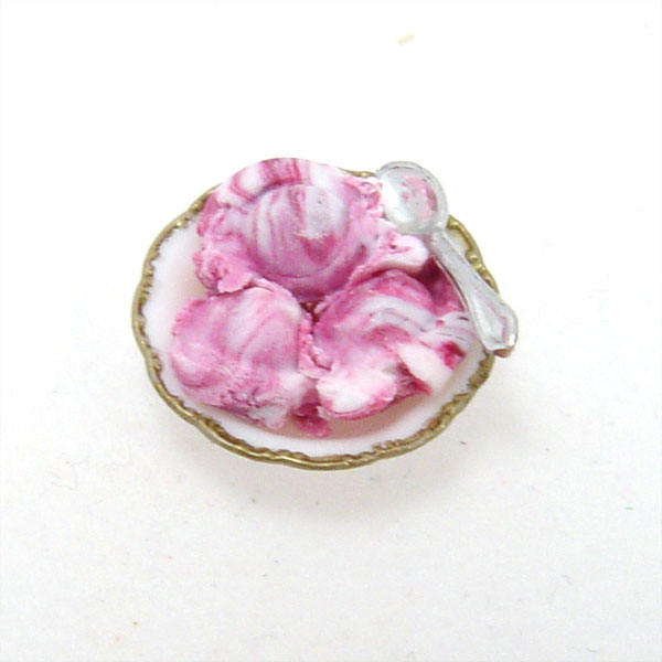 Raspberry Swirl Ice Cream in a Bowl | Stewart Dollhouse Creations
