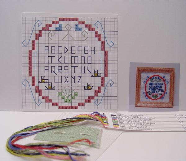 "12 scale miniature cross-stitch kit ""Sampler"""