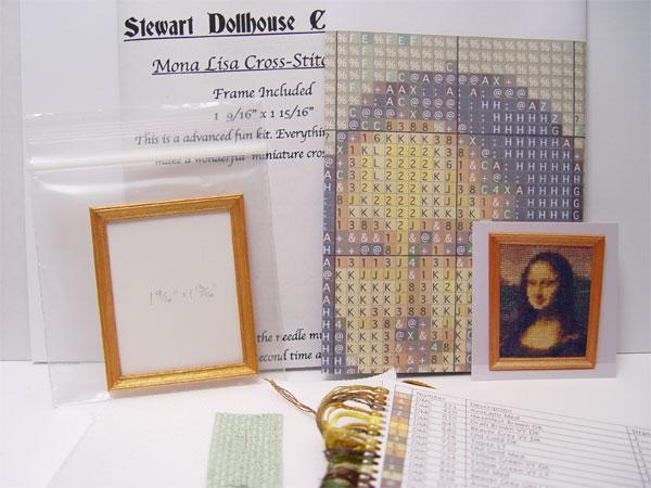 1 12 Scale Miniature Cross Stitch Kit Quot Mona Lisa Quot W Frame