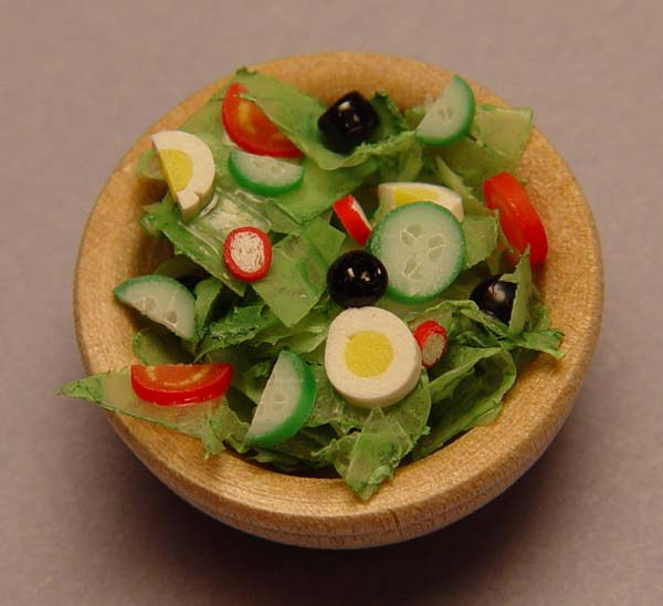 1 12 Scale Minature Salad In Large Wooden Bowl Stewart