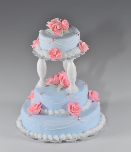 Blue 3 Tier Wedding Cake